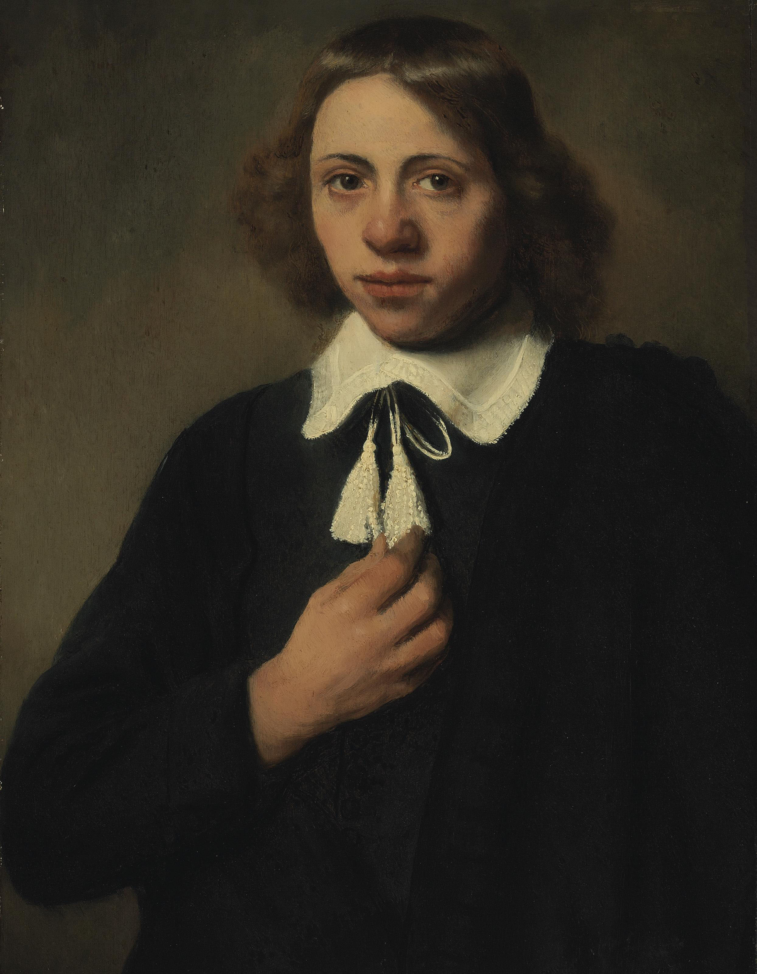 Portrait of a young man in black, half-length