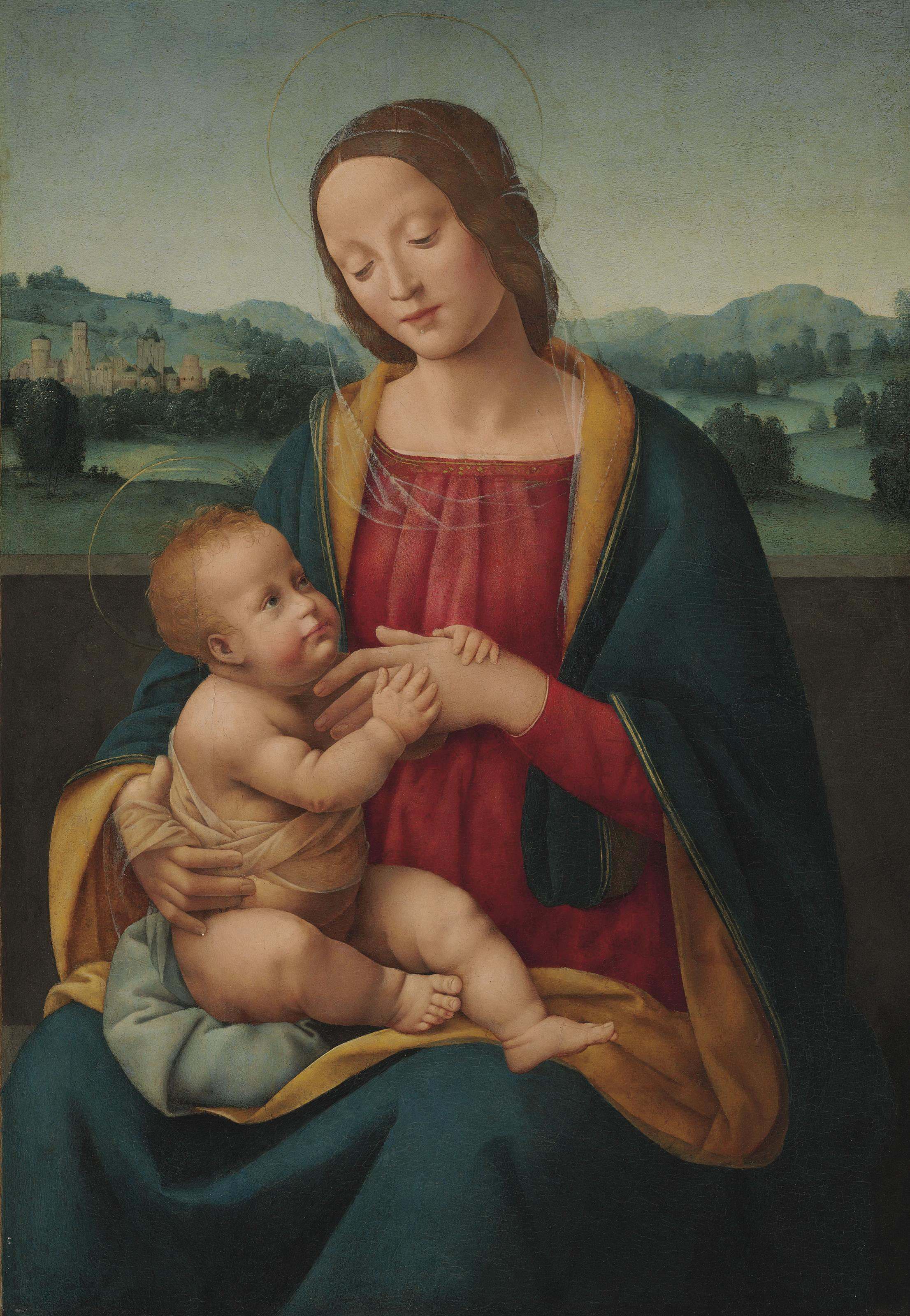 The Madonna and Child before a landscape