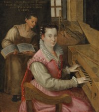 Self-portrait at the keyboard with a maidservant