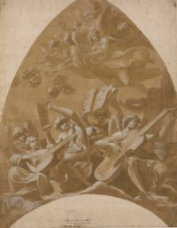 Angels and putti making music in the clouds: design for a vault
