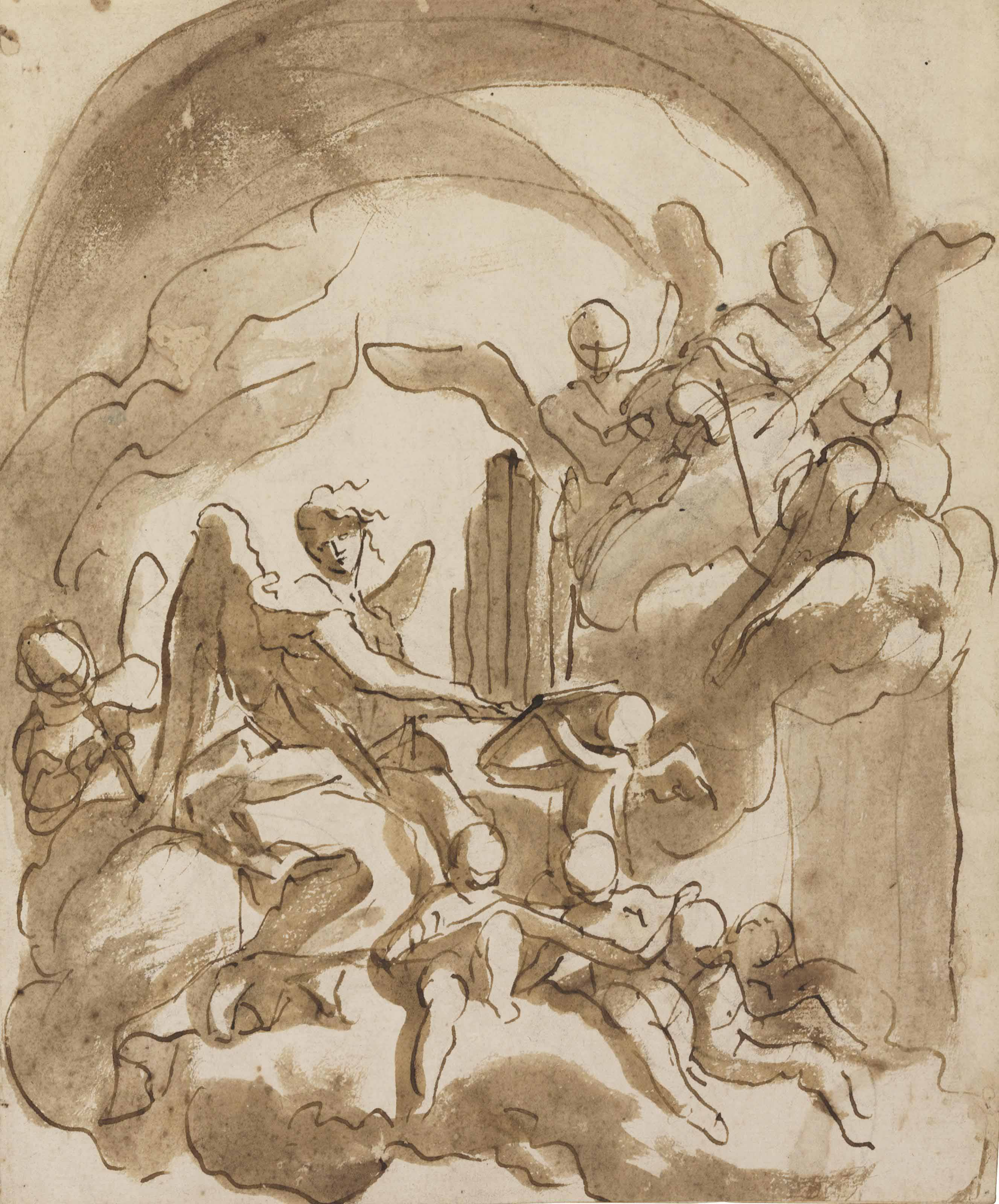 Angels and putti making music in the clouds