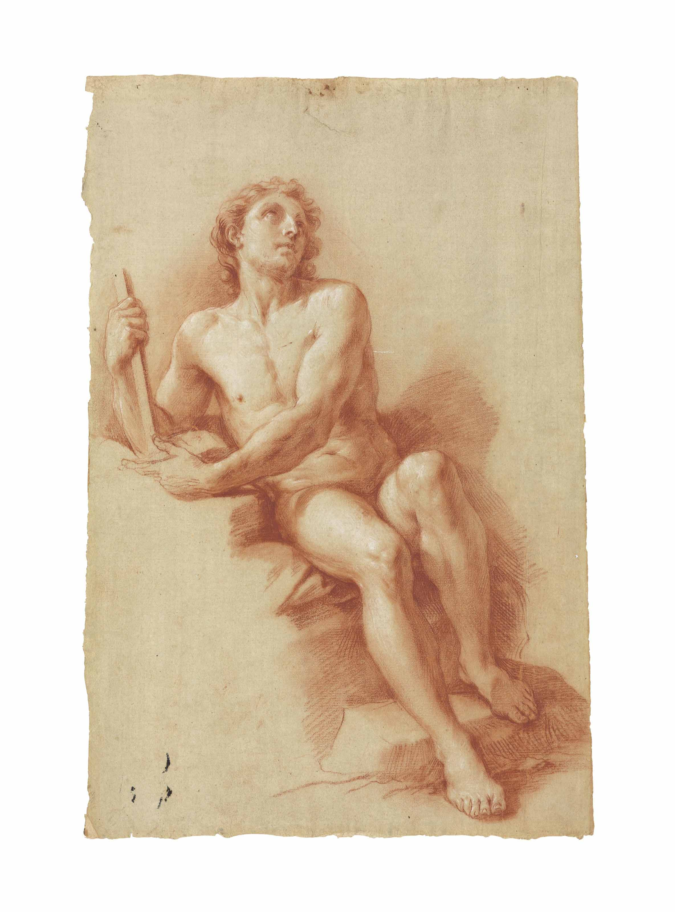 A male nude (recto), A seated female nude (verso)