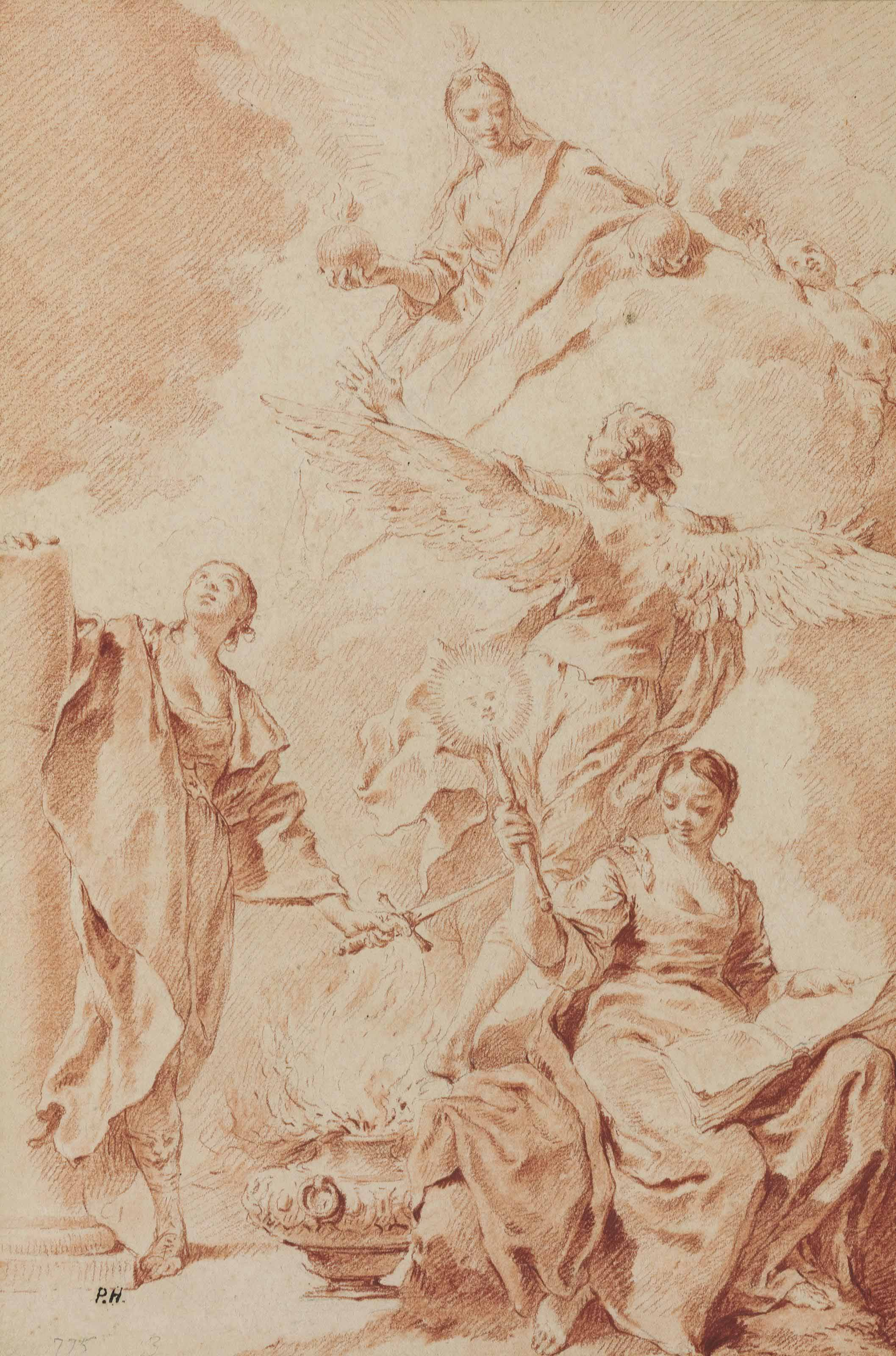 Design for a frontispiece: Allegorical figures of Constancy, Philosophy and Truth, with a winged genius