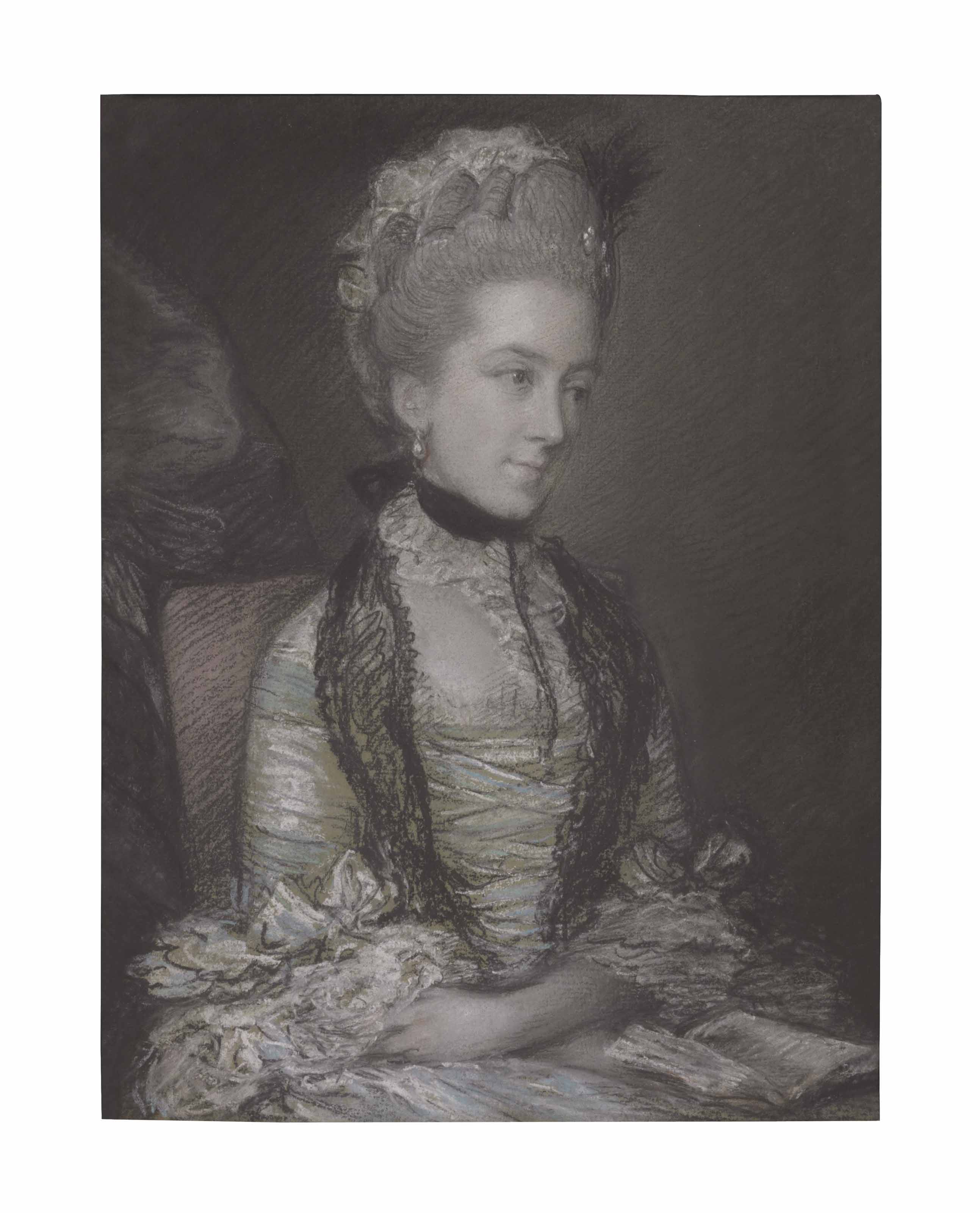 Portrait of Caroline, 4th Duchess of Marlborough, half-length, in a blue and white dress