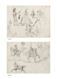 Studies of officers and cavaliers (recto), Studies of officers, cavaliers and two turbaned men, a portrait of Napoleon in profile (verso)