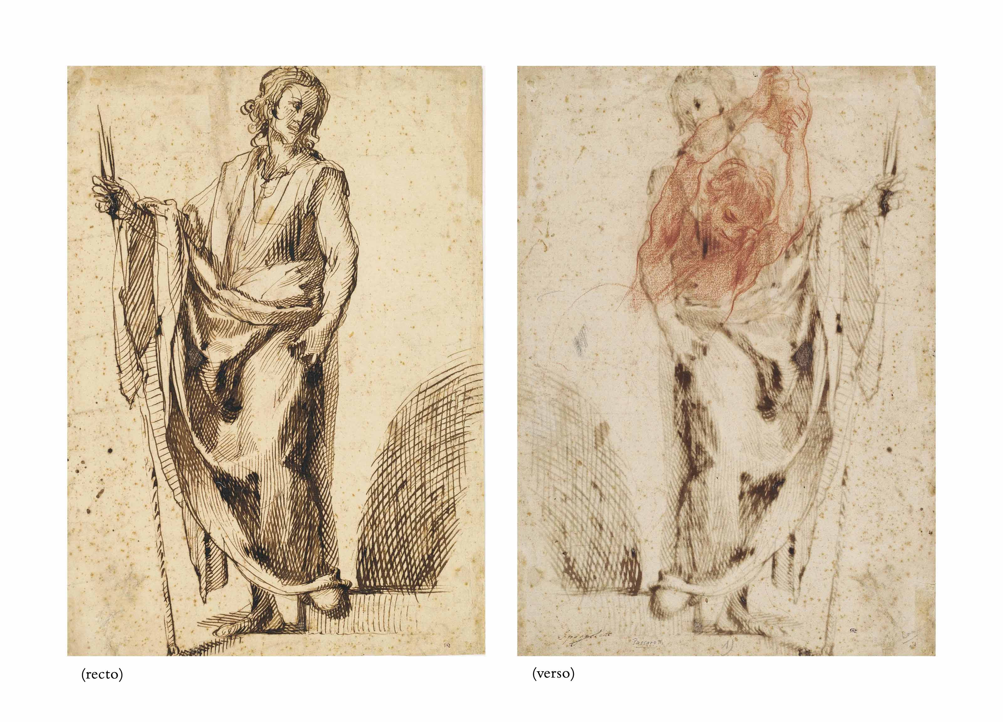 A standing apostle (recto), Study of an assailant in the Stoning of Saint Stephen (verso)