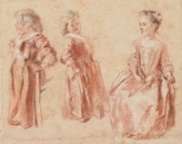 Two studies of a young child standing, and another of a young girl seated