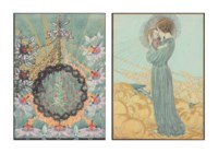 Two designs for a book cover: A floral design representing the Passion of Christ; and The Madonna and Child