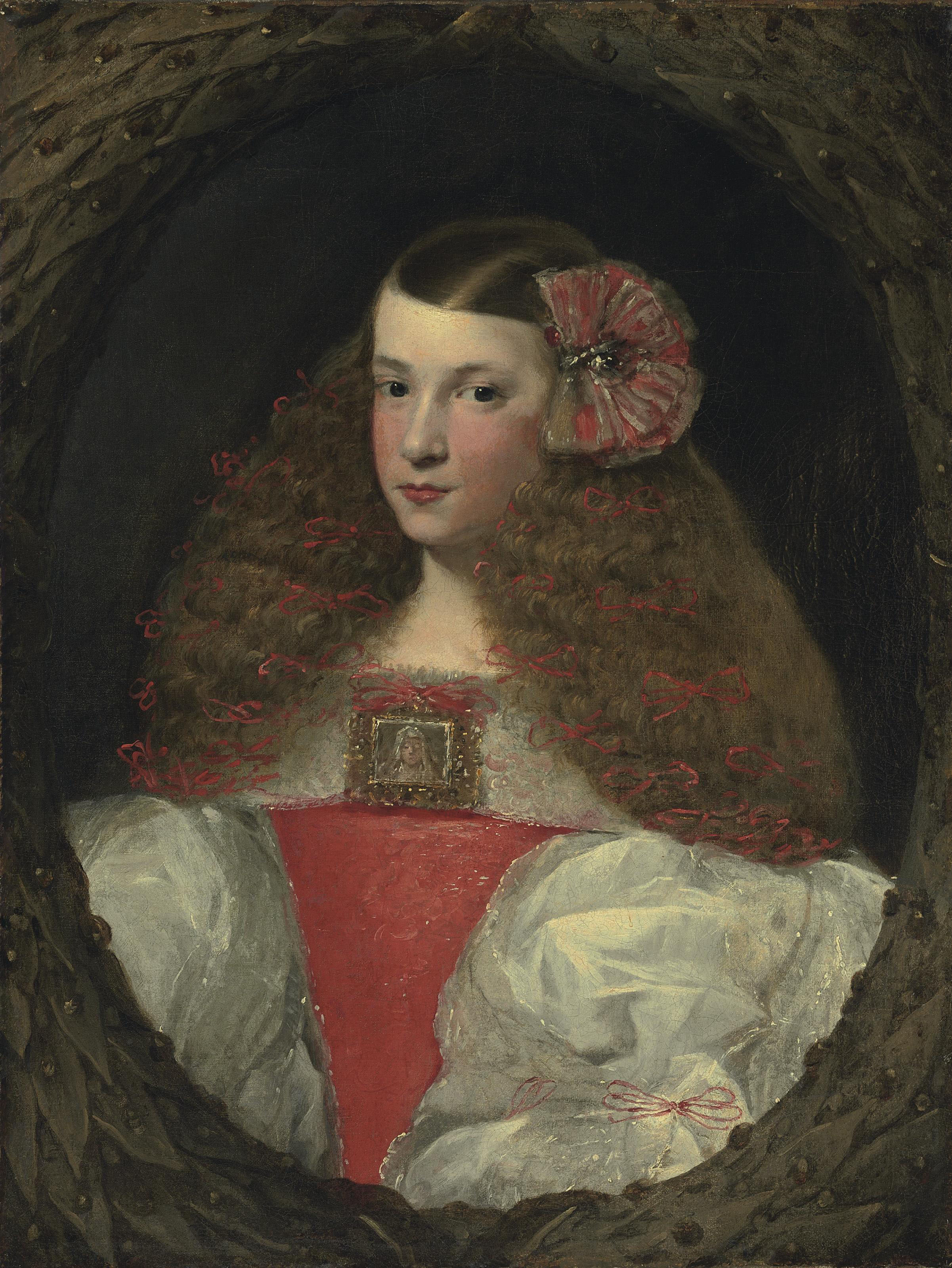 Portrait of a young girl, half-length, in a feigned wreath