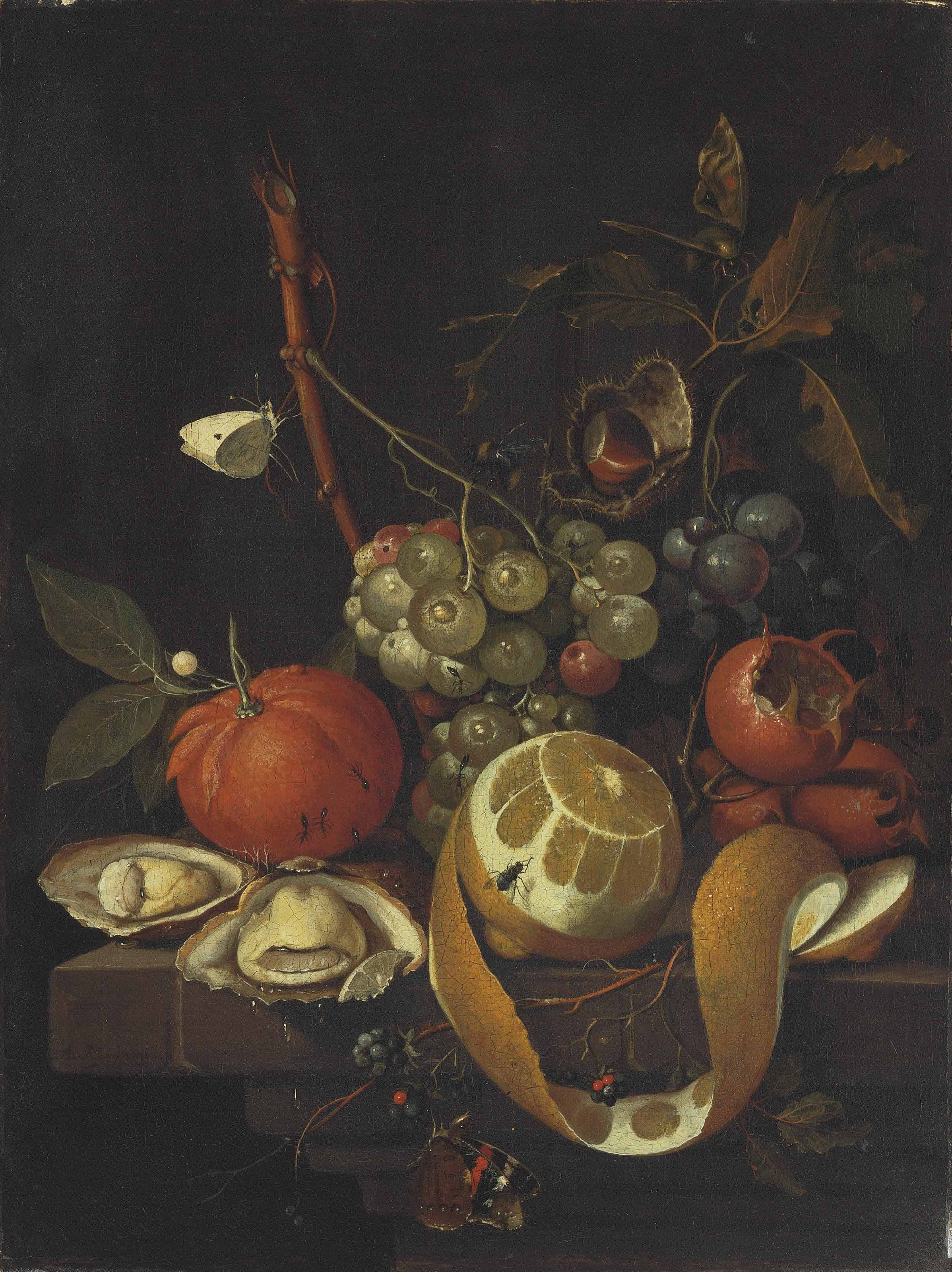 Grapes, a lemon, oysters, a chestnut, blackberries and other citrus fruits on a stone ledge with butterflies, a fly, a bee and ants