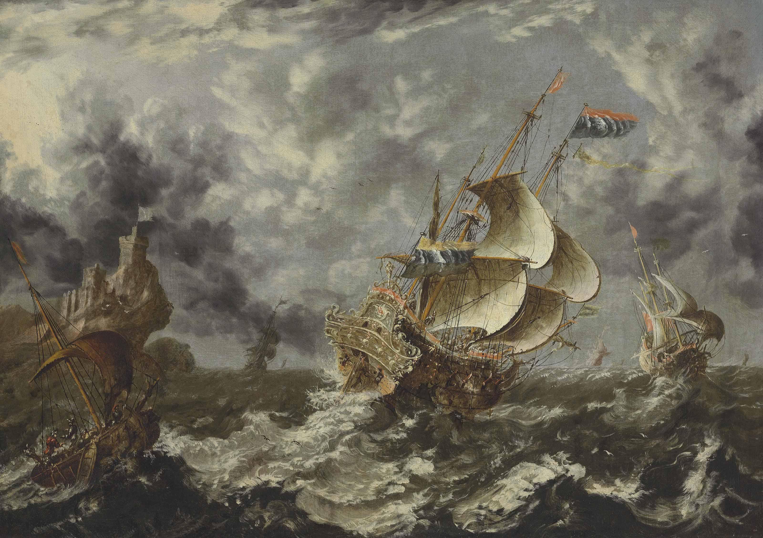 Warships in choppy seas