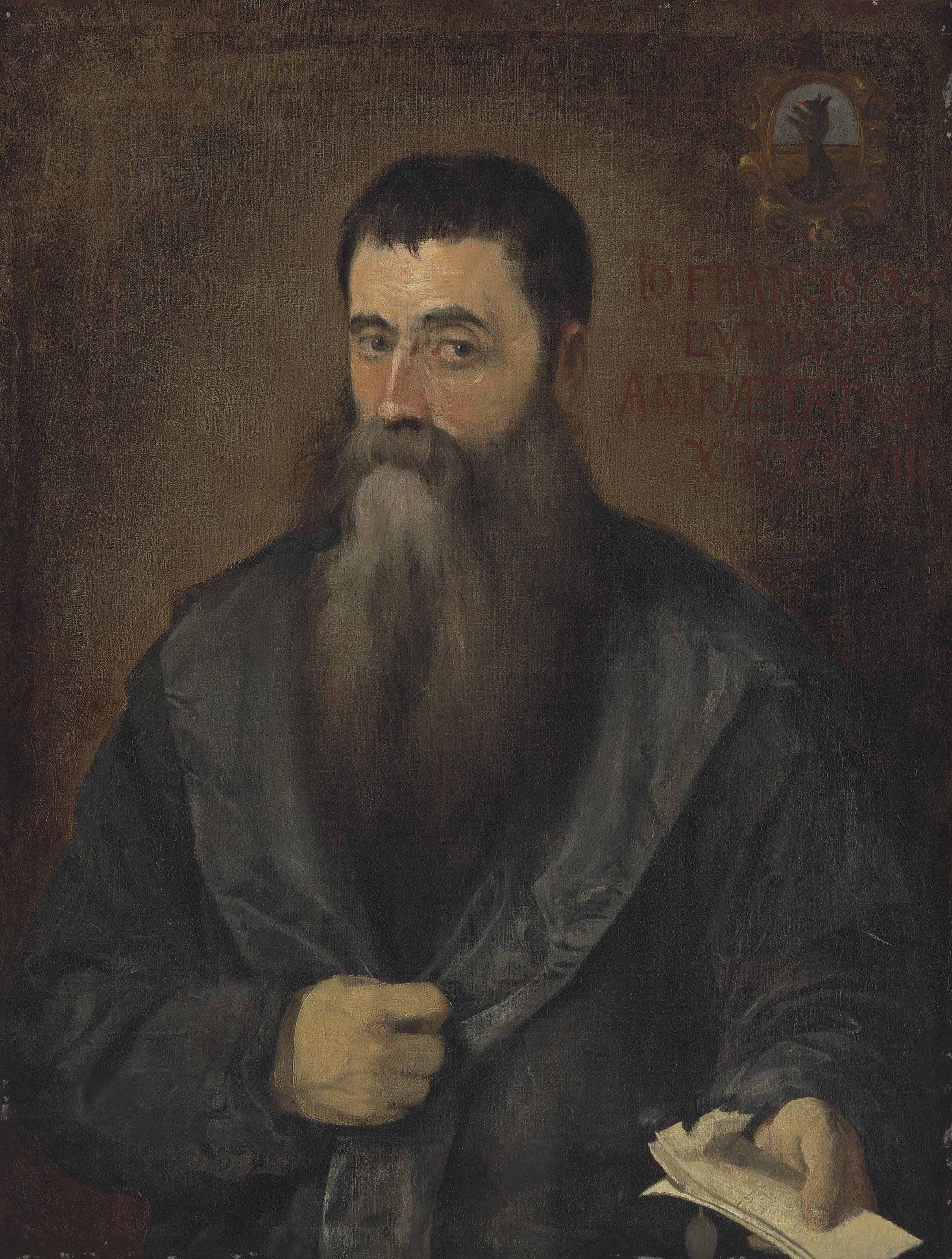 Portrait of Francisco Lupini, half-length, holding papers