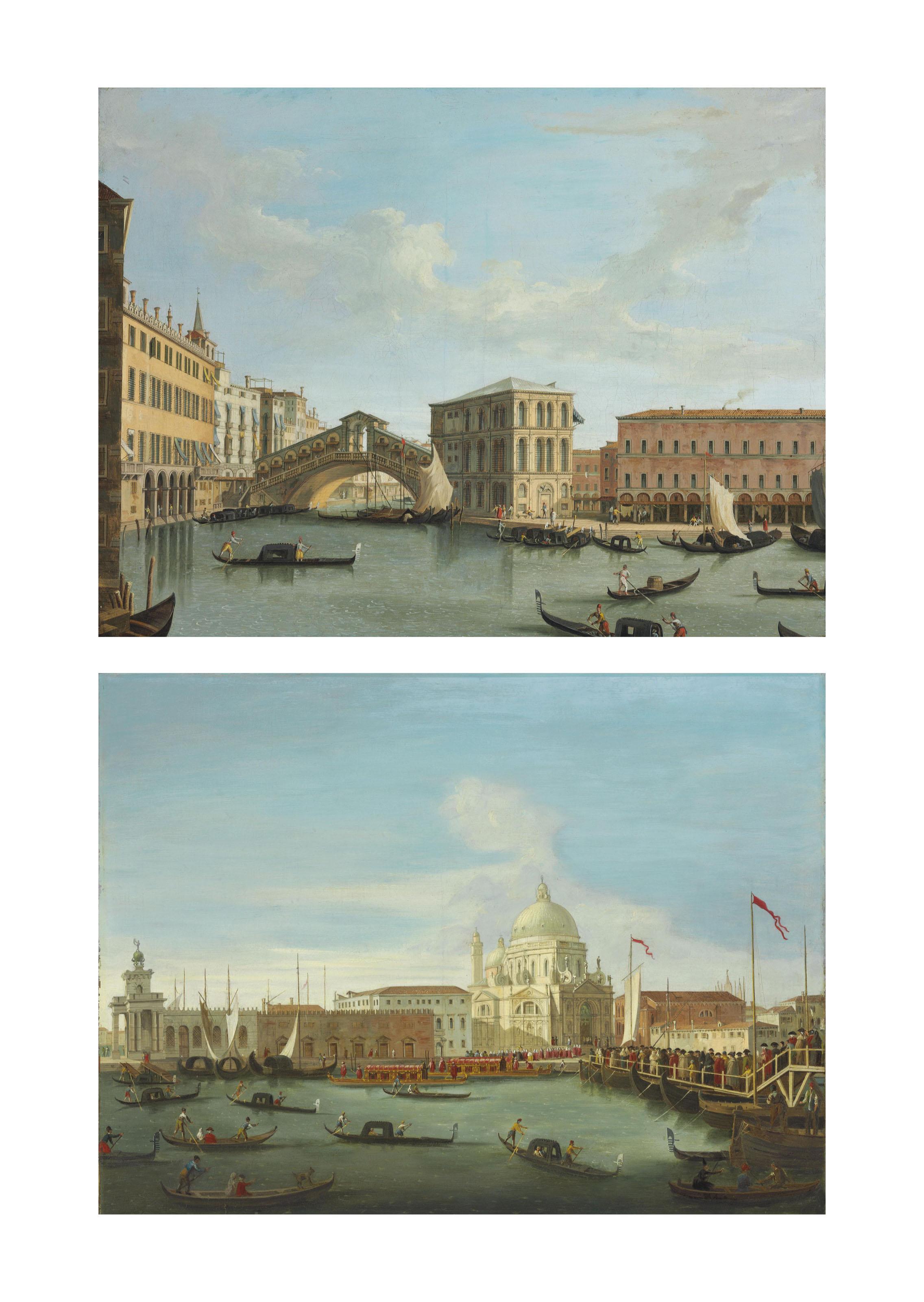 View of the Rialto Bridge, Venice; and Procession in front of Santa Maria della Salute, Venice