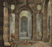 Interior of a Baroque Church with a friar and peasants