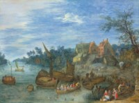 A river landscape with boats by a village
