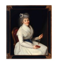Portrait of a lady, seated three-quarter length, wearing a white dress with lace trim, a blue and white ribbon in her hair holding a fan and a book