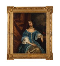 Portrait of the Hon. Mrs Grimston, Afterwards Lady Elizabeth Grimston, in a blue dress, resting her left arm on a pedestal