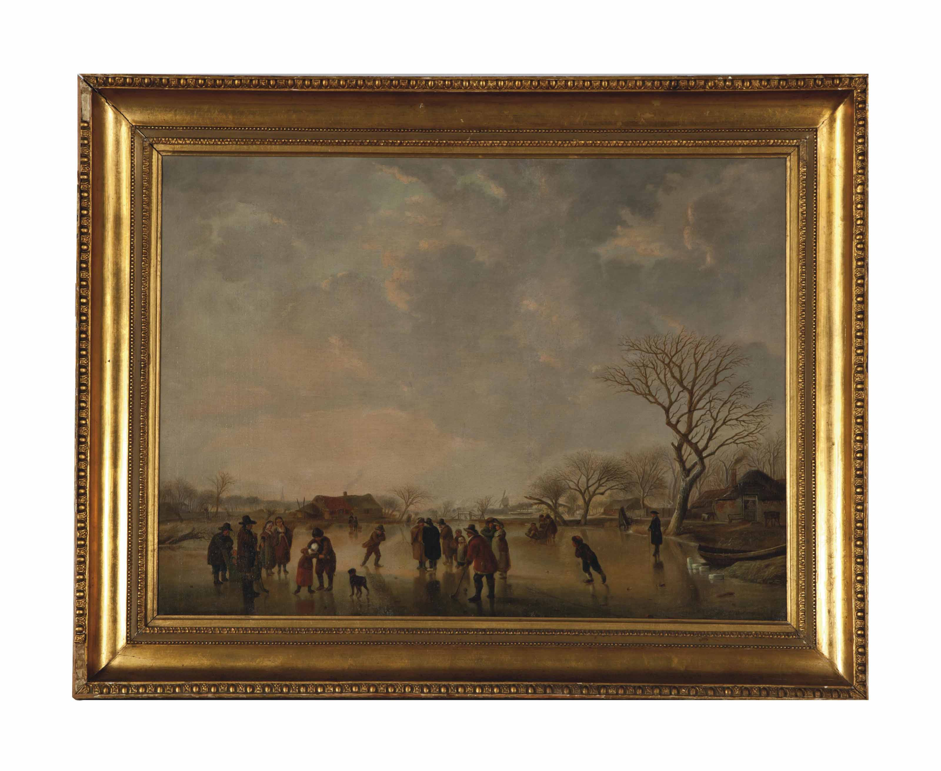 Winter scene with figures skating on a lake