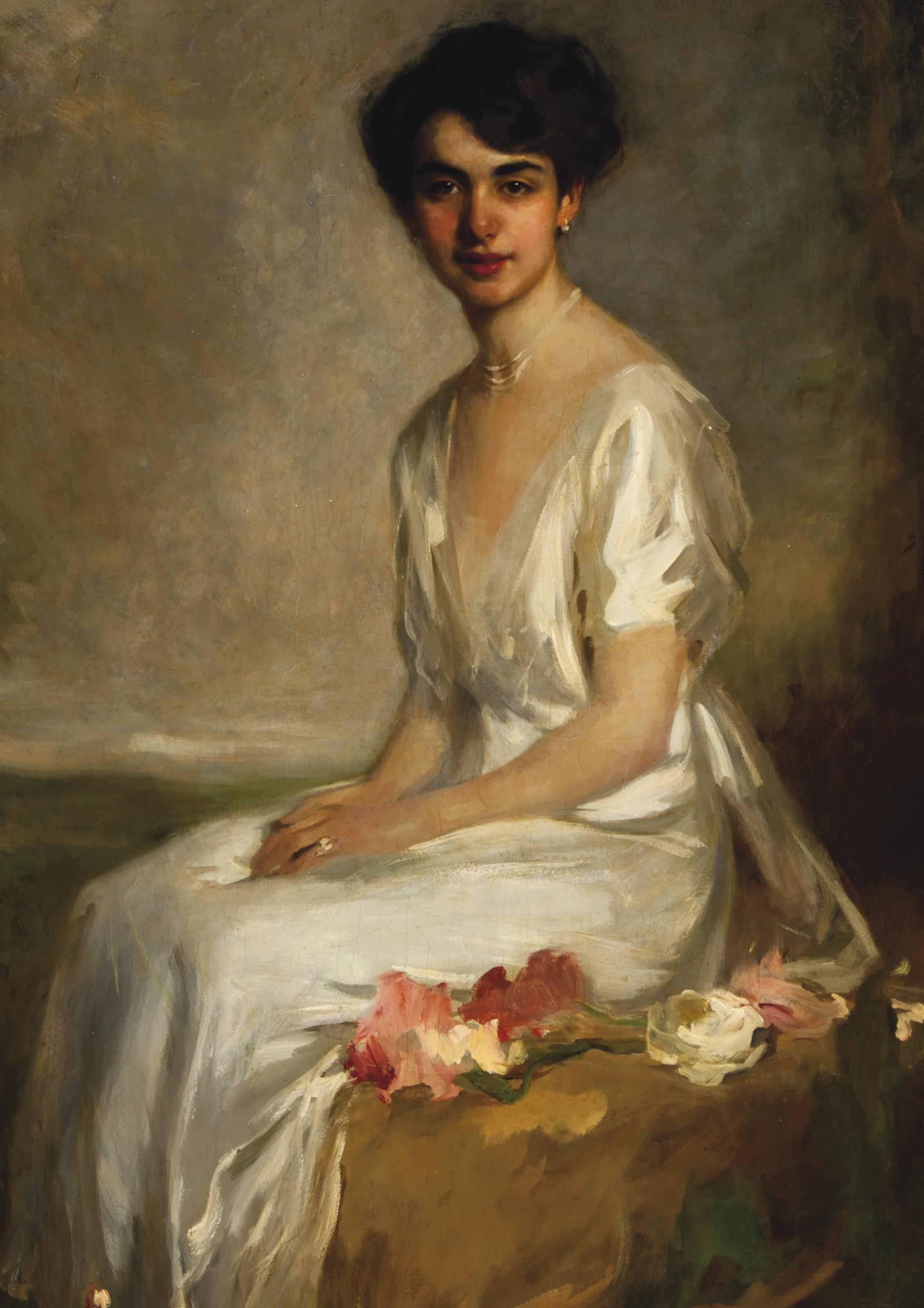 Portrait of an Elegant Young Woman Dressed in White