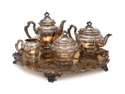 A FRENCH SILVER FOUR PIECE TEA