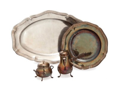 A FRENCH SILVER MEAT DISH, A S