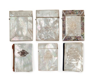 EIGHT MOTHER-OF-PEARL CARD CAS