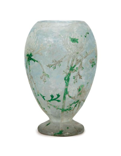 A FRENCH GLASS FOOTED VASE,