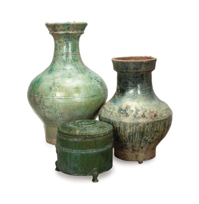 TWO CHINESE GREEN-GLAZED POTTE