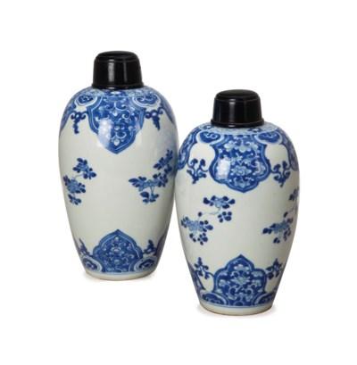 TWO SIMILAR CHINESE OVOID BLUE