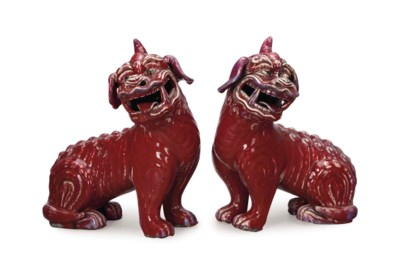 A PAIR OF CHINESE RED-GLAZED P