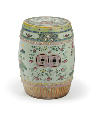 A CHINESE FAMILLE ROSE DRUM-FO
