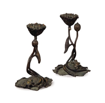 A PAIR OF CHINESE BRONZE LOTUS