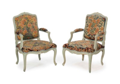 A SET OF FOUR LOUIS XV PALE BL