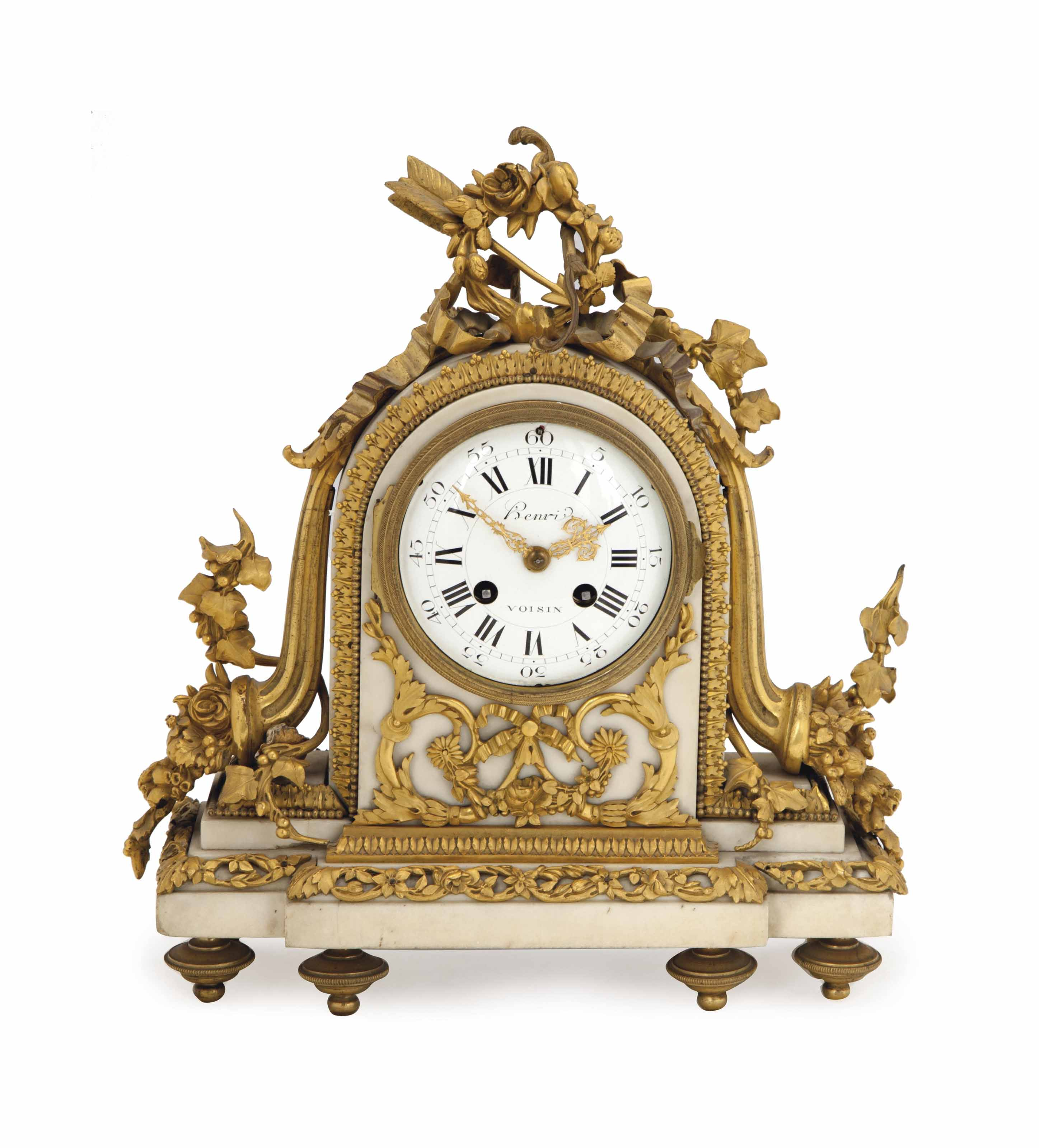 A LOUIS XVI WHITE MARBLE AND GILT BRONZE MANTEL CLOCK,