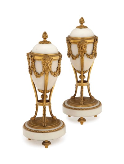 A PAIR OF LOUIS XVI WHITE MARB