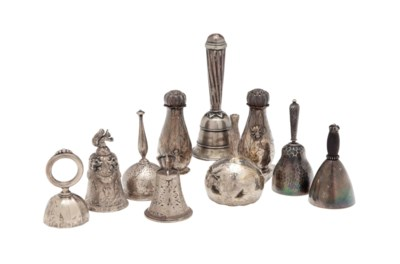 EIGHT SILVER TABLE BELLS, AND