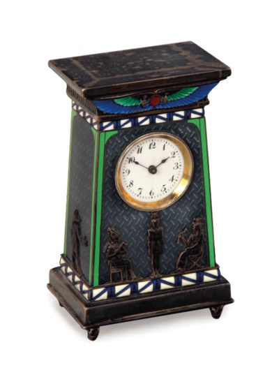 A SWISS SILVER AND ENAMEL EGYP