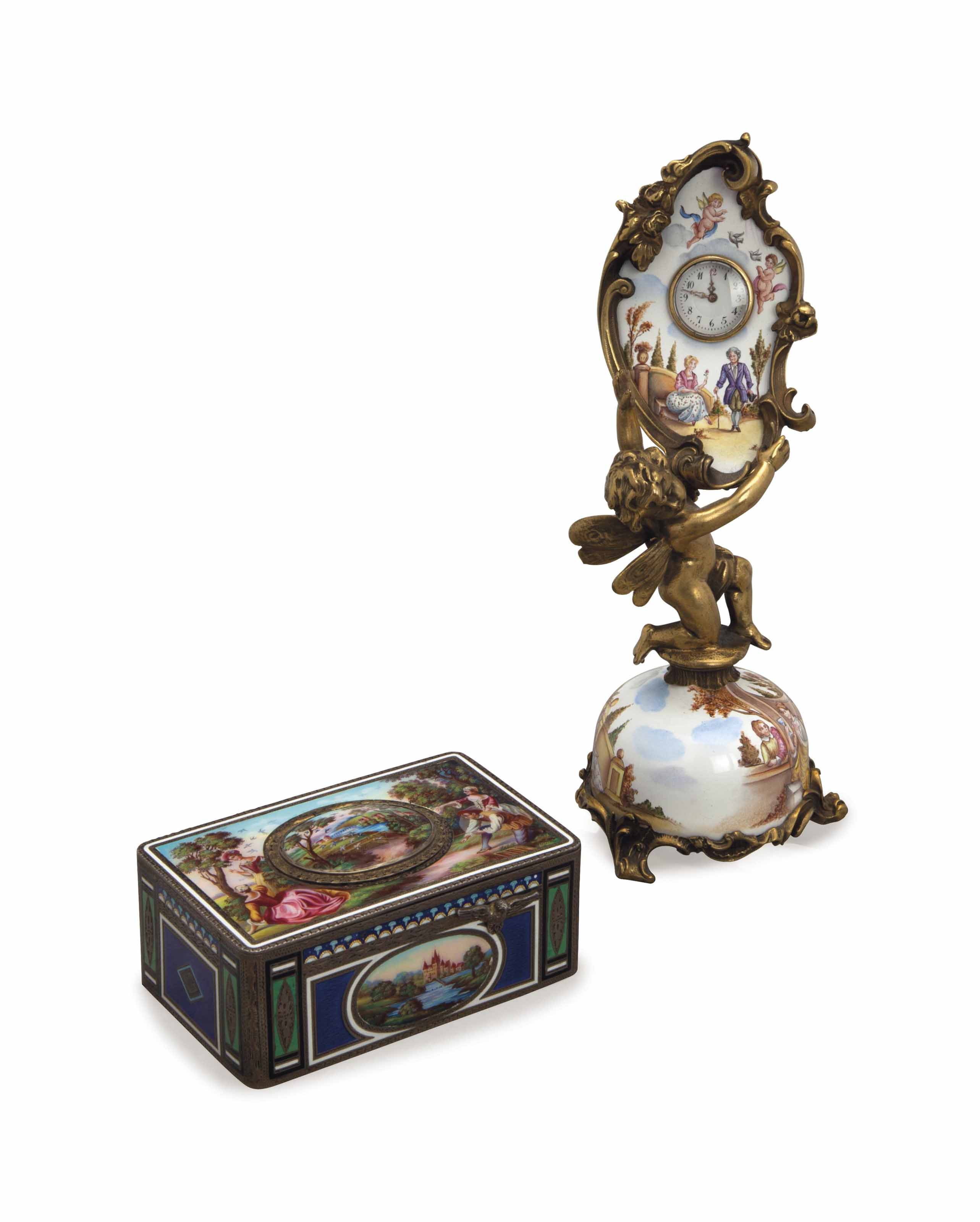A SWISS GILT METAL AND ENAMEL FIGURAL TIMEPIECE, AND A ENAMELED SILVER SINGING BIRD BOX,