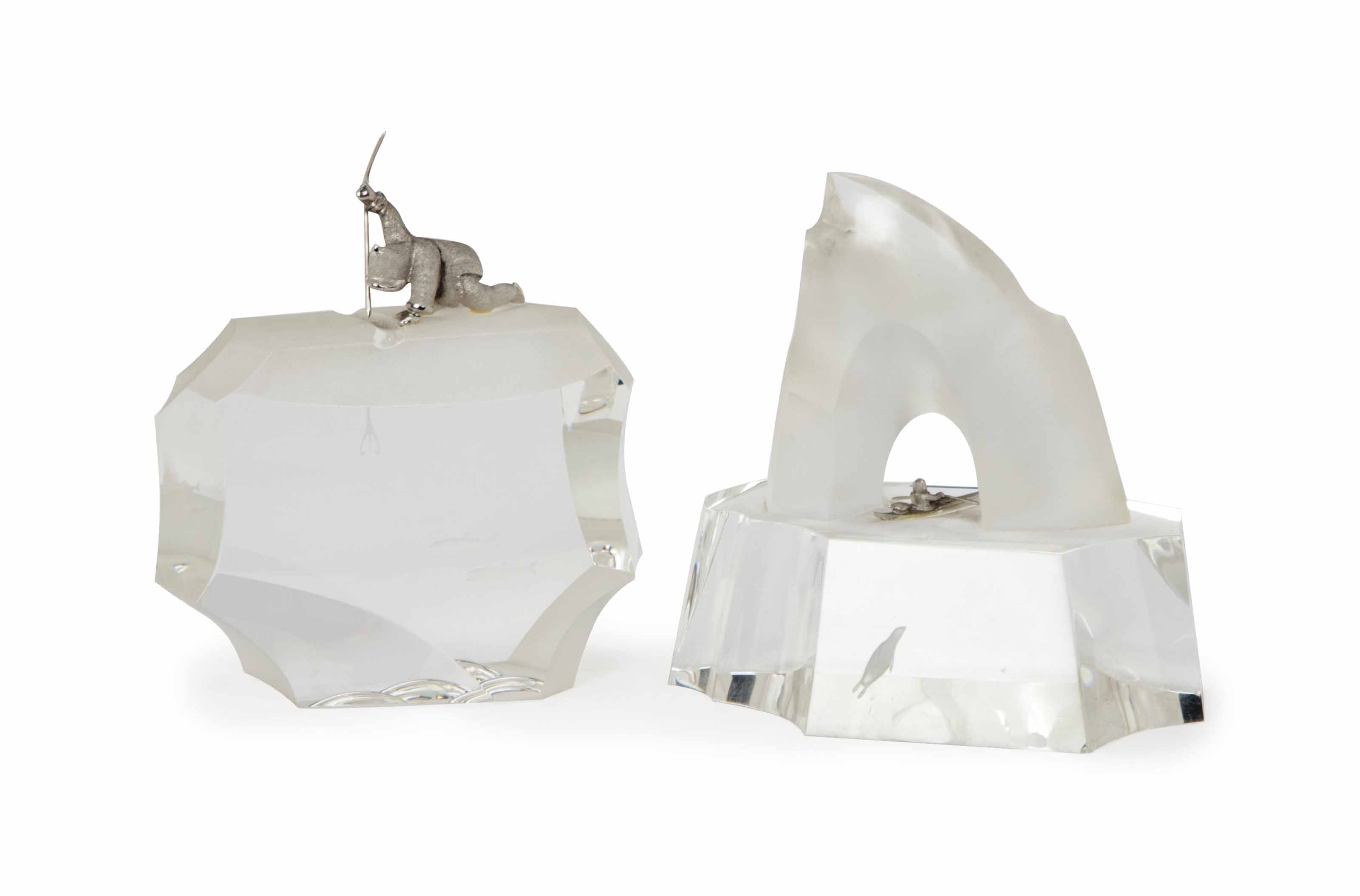 TWO AMERICAN GLASS AND CAST SILVER 'ARCTIC' THEMED TABLETOP SCULPTURES,