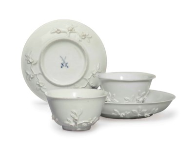 TWO GERMAN TEABOWLS AND SAUCER