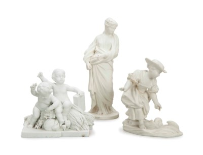 THREE FRENCH BISCUIT FIGURES,