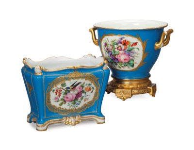 TWO SEVRES-STYLE TRUQUOISE GRO