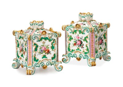 A PAIR OF FRENCH PORCELAIN SQU