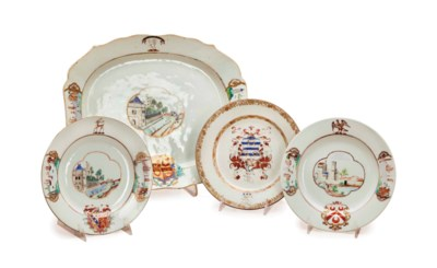 FOUR CHINESE EXPORT ARMORIAL P