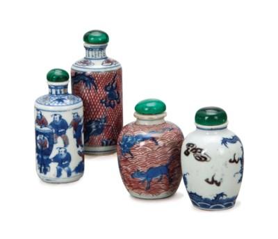 FOUR CHINESE PORCELAIN UNDERGL