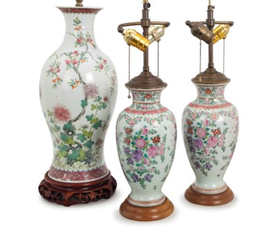 THREE PORCELAIN VASES MOUNTED