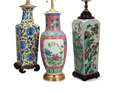 THREE CHINESE VASES MOUNTED AS