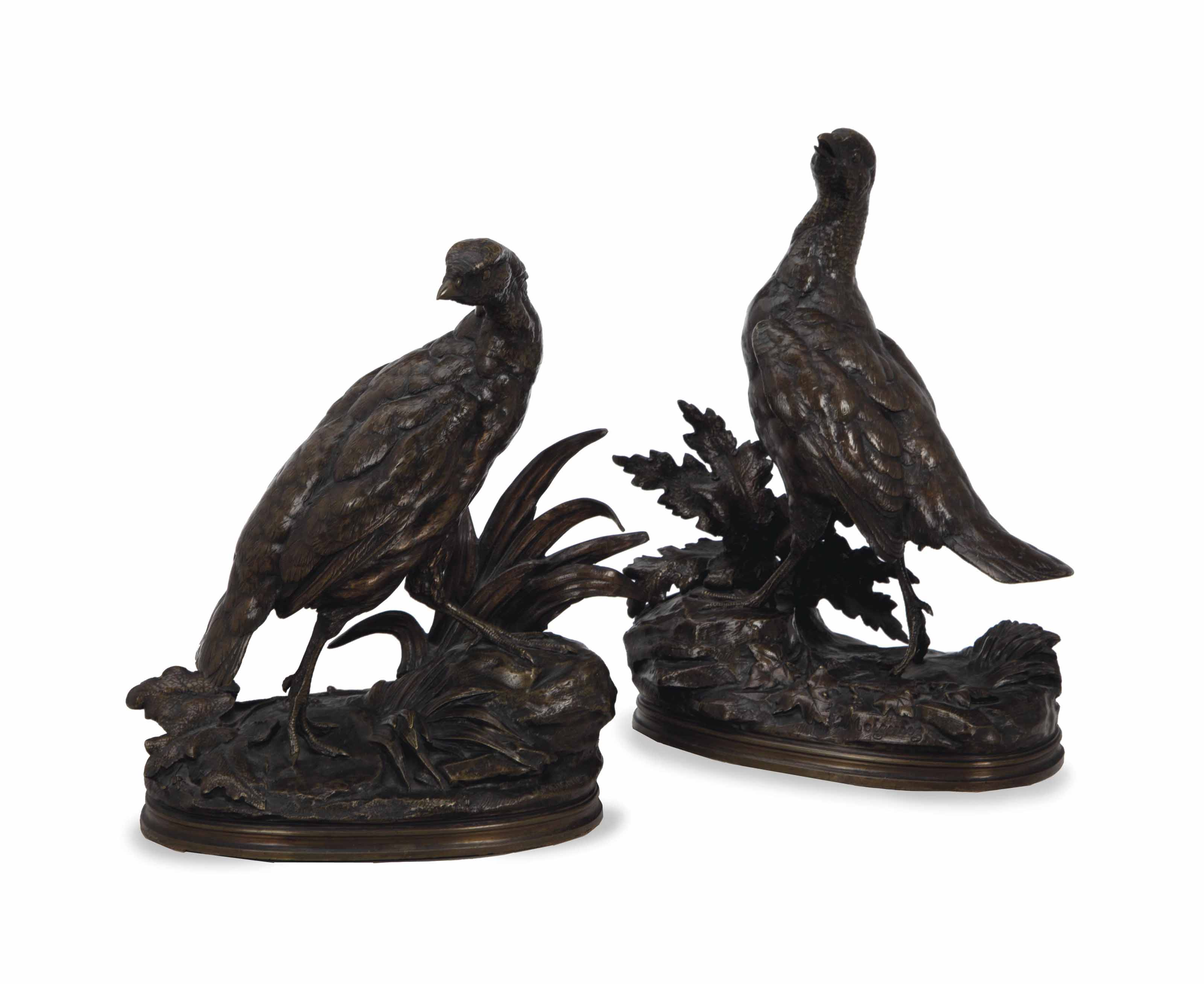 A PAIR OF FRENCH PATINATED-BRONZE STUDIES OF PARTRIDGES,