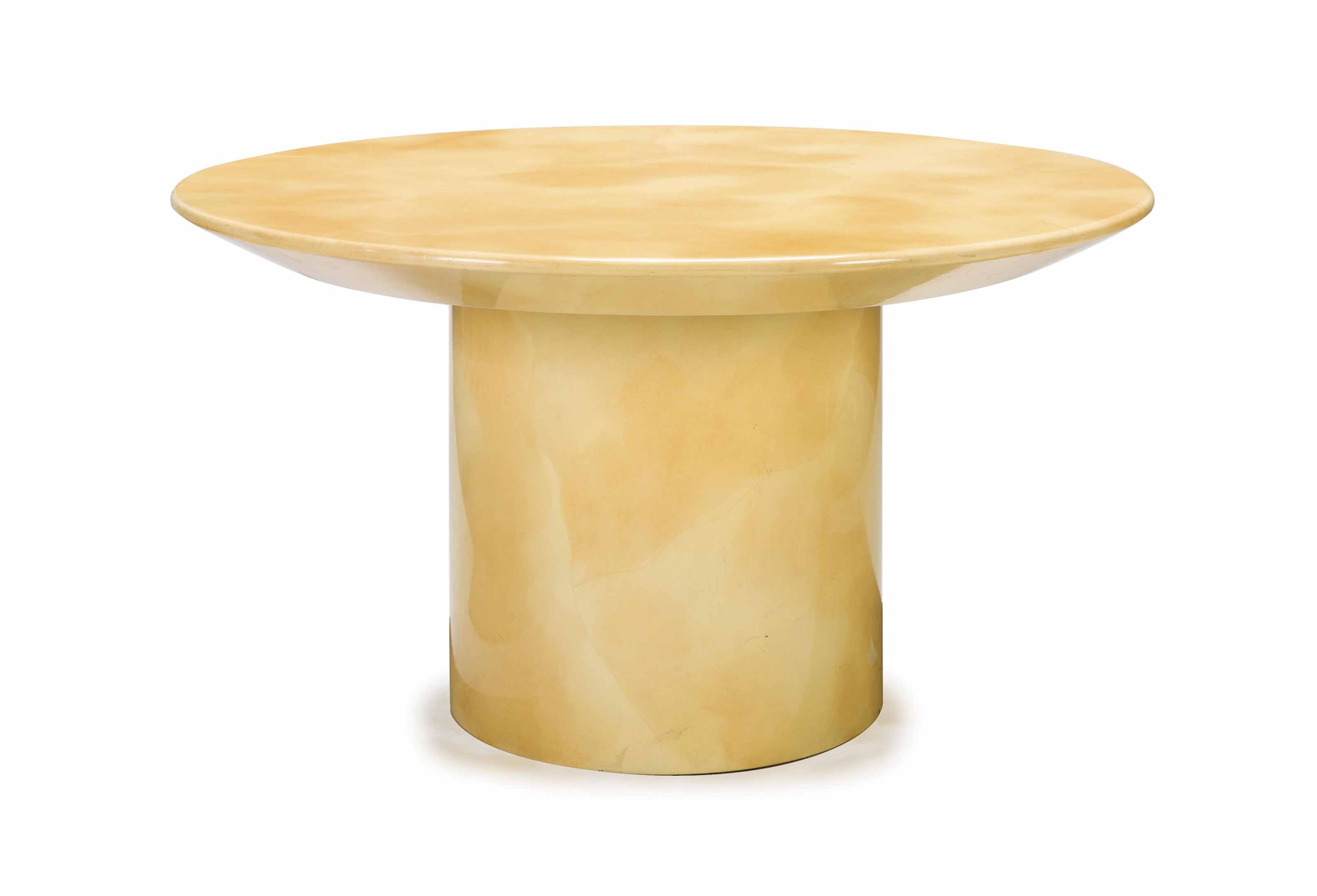 A Cream Lacquered Circular Dining Table Attributed To