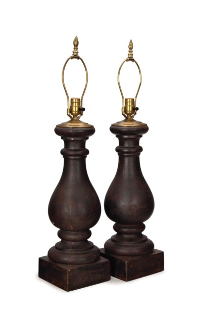 A PAIR OF METAL TABLE LAMPS,
